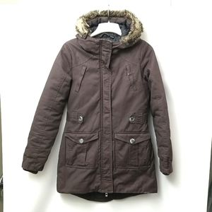 Bench Woman's Long Winter Jacket Dark Chocolate With Grey And Black Size Small